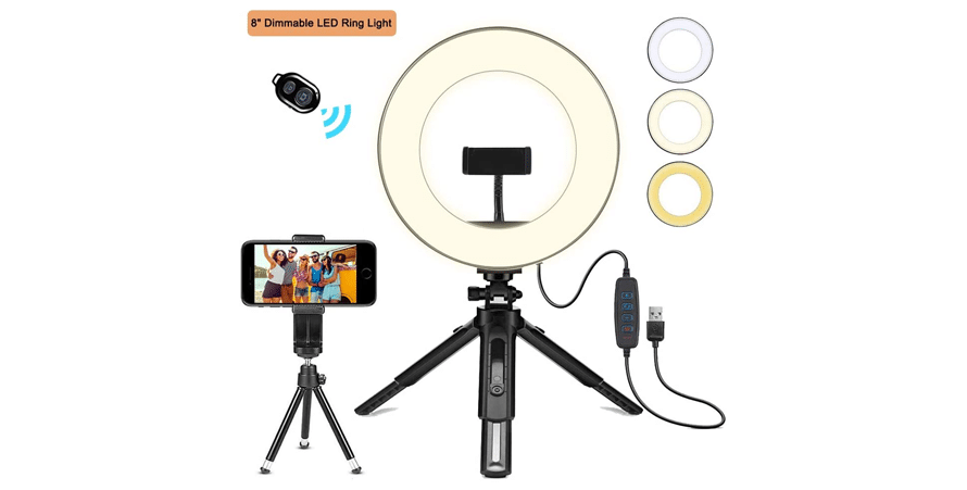 Creatck 8-inch LED Ring Light with Tripod Stand