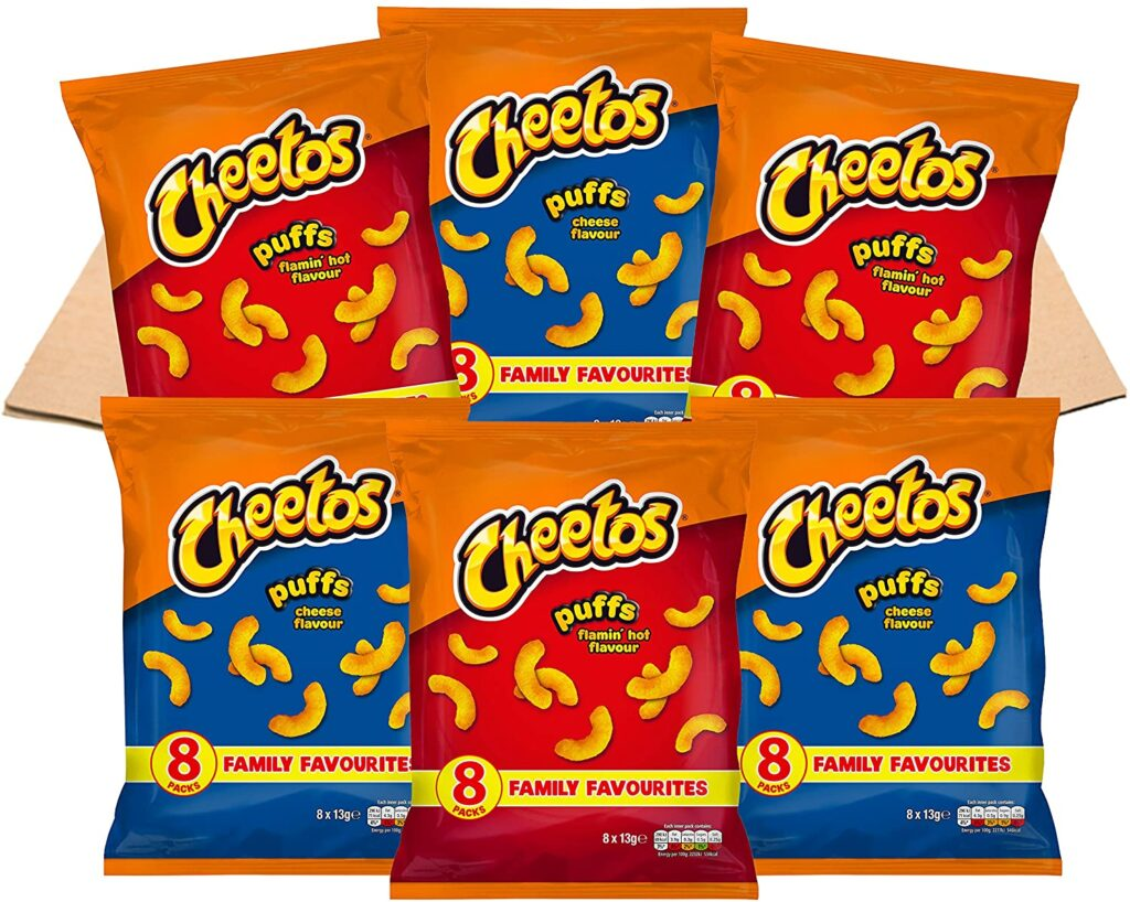 Cheetos USA Favourites Flamin' Hot and Cheese Puffs Multipacks Snacks Box (48 Single Bags of Cheetos American Snacks)