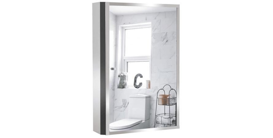 HOMCOM Stainless Steel Wall mounted Bathroom Mirror Cabinet
